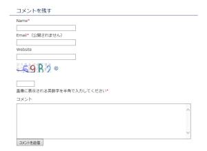 SI CAPTCHA コメント入力欄