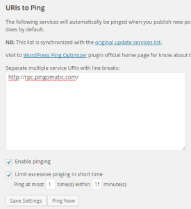 WordPress ping Optimizer設定